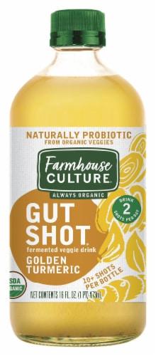 Farmhouse Culture Always Organic Gut Shot Golden Turmeric Fermented Veggie Drink Perspective: front