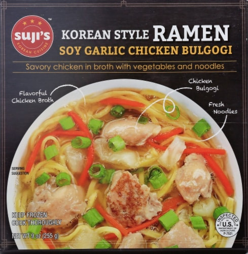 Suji's Spicy Soy Garlic Chicken Bulgogi Korean Style Ramen Perspective: front