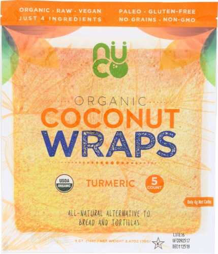 NUCO Organic Turmeric Coconut Wraps 5 Count Perspective: front