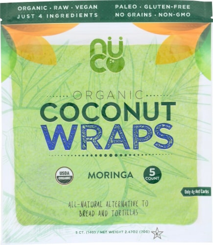 NUCO Organic Moringa Coconut Wraps 5 Count Perspective: front