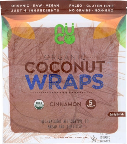 NUCO Organic Cinnamon Coconut Wraps 5 Count Perspective: front