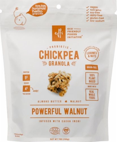EFFi Foods Probiotic Chickpea Granola Clusters - Almond Butter Walnut Perspective: front