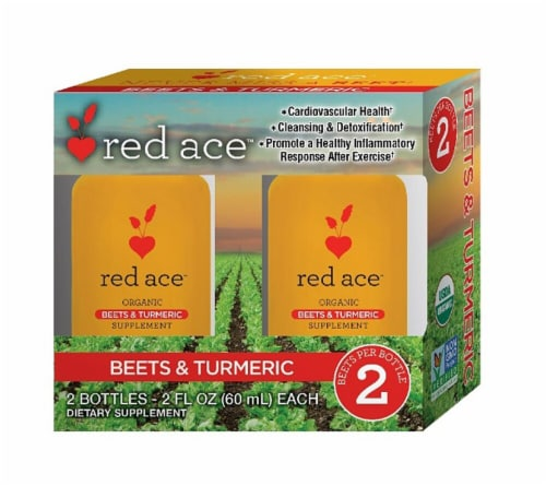 Red Ace Organic Beets & Turmeric Supplement Shots Perspective: front