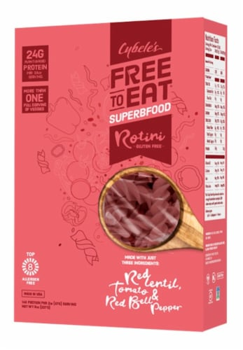 Cybele's Free to Eat Superfood Red Rotini Pasta Perspective: front