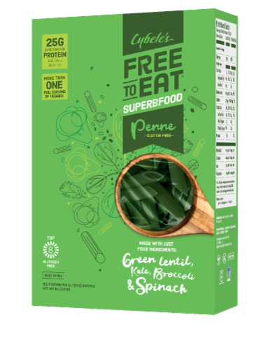 Cybele's Free to Eat Superfood Green Penne Pasta Perspective: front