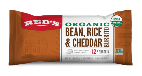 Red's Organic Bean Rice & Cheddar Burrito Perspective: front