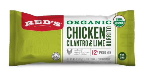 Red's Organic Chicken Cilantro & Lime Burrito Perspective: front