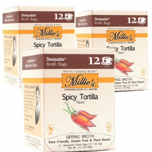 Millie's Spicy Tortilla Sipping Broth - 36 Count Perspective: front