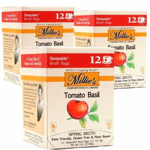 Millie's Tomato Basil Sipping Broth - 36 Count Perspective: front