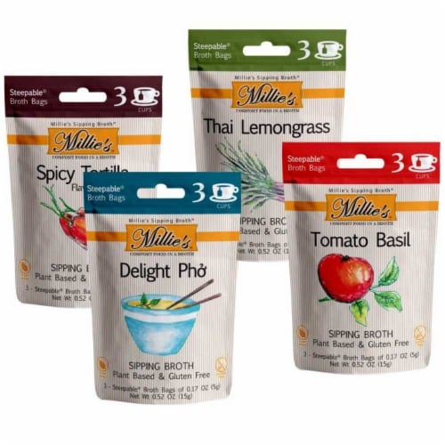 Millie's Sipping Broth 4 Flavor Assortment - 12 Count Perspective: front