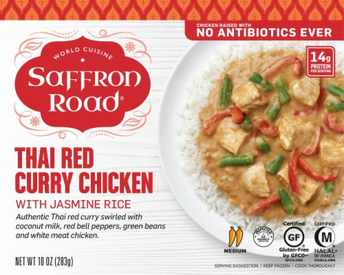 Saffron Road Thai Red Curry Chicken with Jasmine Rice Frozen Entree Perspective: front