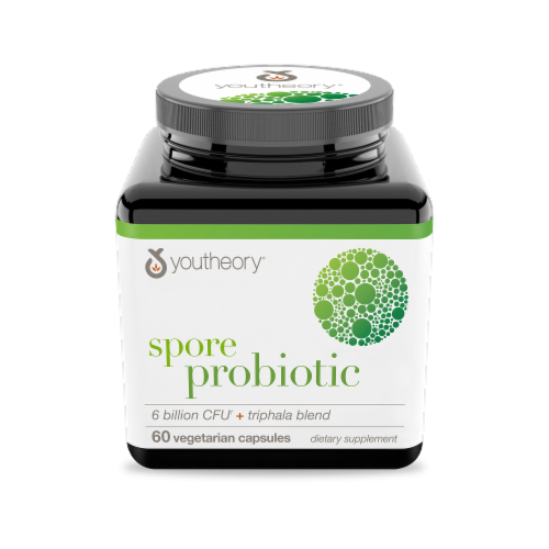 Youtheory Spore Probiotic Plus Triphala Blend Capsules Perspective: front