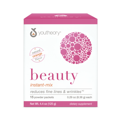 YouTheory Beauty Instant Mix Dietary Supplement Powder Packets 15 Count Perspective: front