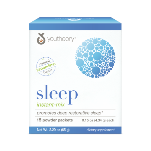 YouTheory Sleep Natural Lemon-Lime Flavor Instant-Mix Packets 15 Count Perspective: front
