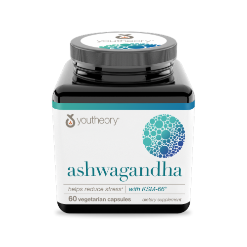 YouTheory Ashwagandha Vegetarian Capsules 1000mg 60 Count Perspective: front