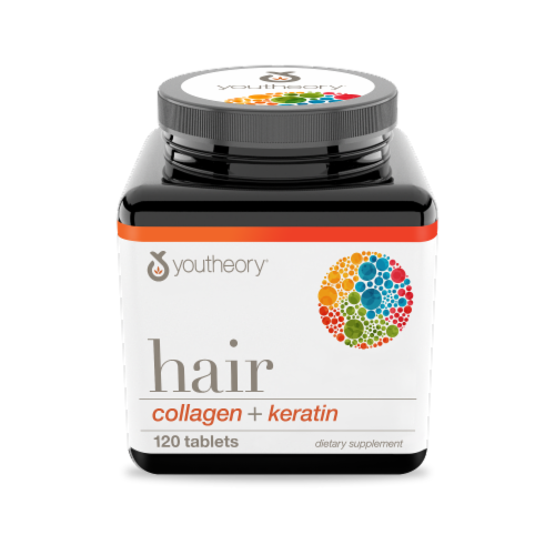YouTheory Hair Collagen + Keratin Mini Tablets Perspective: front