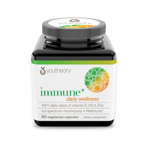 Youtheory Immune + Daily Wellness Vegetarian Capsules Perspective: front