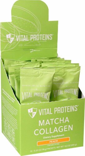 Vital Proteins  Matcha Collagen Stick Pack Box   Peach Perspective: front