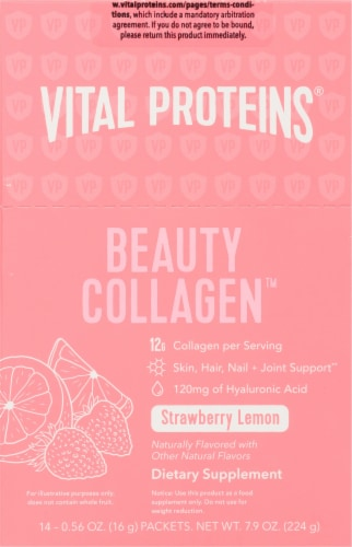Vital Proteins Strawberry Lemon Beauty Collagen Packets Perspective: front