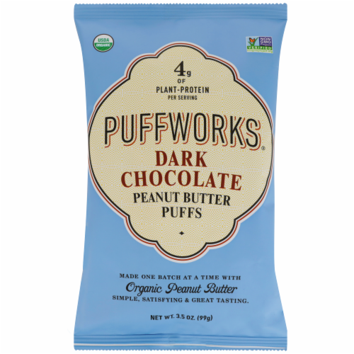 Puffworks Organic Dark Chocolate Peanut Butter Puffs Perspective: front