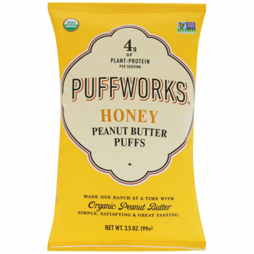 Puffworks Organic Honey Peanut Butter Puffs Perspective: front