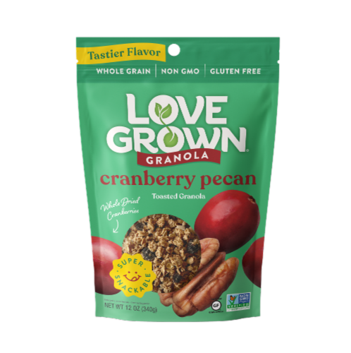 Love Grown® Gluten-Free Cranberry Pecan Toasted Granola Perspective: front