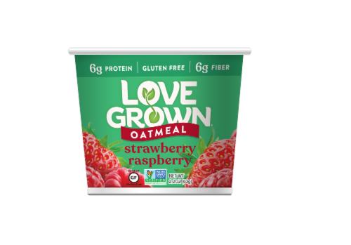 Love Grown Strawberry Raspberry Hot Oats Perspective: front