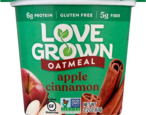 Love Grown Apple Cinnamon Hot Oats Perspective: front