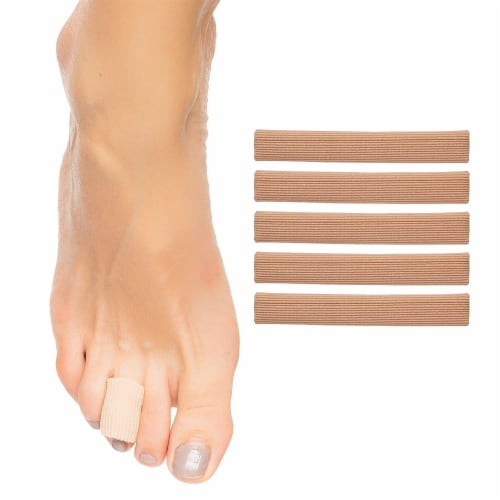ZenToes Open Toe Tubes Fabric Gel Lined Sleeves Protect Corns, Blisters - 5 Pack (Medium) Perspective: front