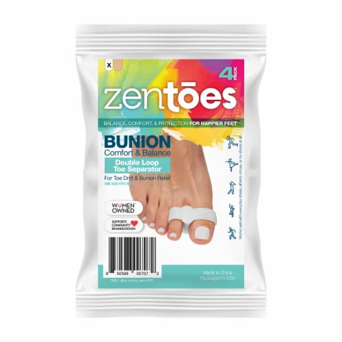 ZenToes Toe Separators with 2 Loops - Pack of 4 Soft Gel Bunion Correctors (White) Perspective: front