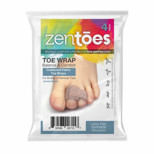 ZenToes Broken Toe Wraps, Cushioned Bandages, Hammer Toe Separator Splints - 4 Pack Perspective: front