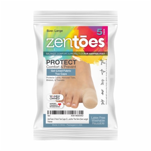 ZenToes Toe Caps Closed Toe Fabric Sleeve Protectors with Gel Lining - 5 Pack (Size Large) Perspective: front