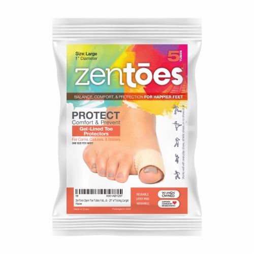 ZenToes Open Toe Tubes Fabric Gel Lined Sleeves Protect Corns, Blisters - 5 Pack (Large) Perspective: front