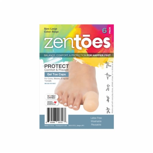 ZenToes 6 Pack Gel Toe Caps - Cushions and Protects Big Toes from Rubbing - (Large, Beige) Perspective: front