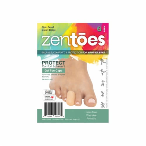 ZenToes 6 Pack Gel Toe Caps - Cushions and Protects Toes from Rubbing - (Small, Beige) Perspective: front