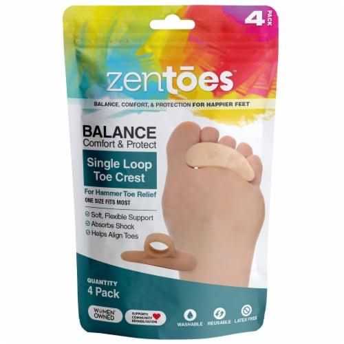 ZenToes Hammer Toe Straightener and Corrector Crests Relieve Foot Pain, Discomfort - 4 Pack Perspective: front
