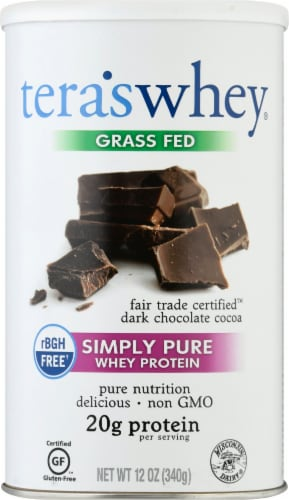 Tera's Whey Dark Chocolate Protein Powder Perspective: front