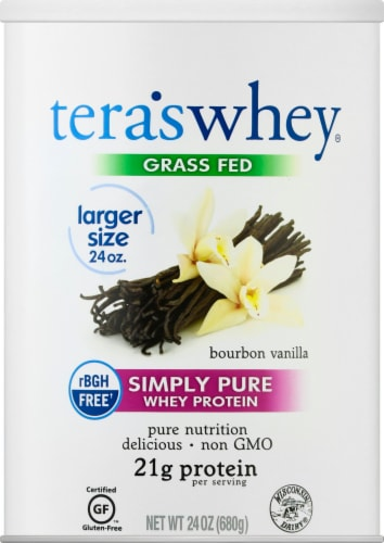 Tera's Whey Grass Fed Bourbon Vanilla Simply Pure Whey Protein Perspective: front