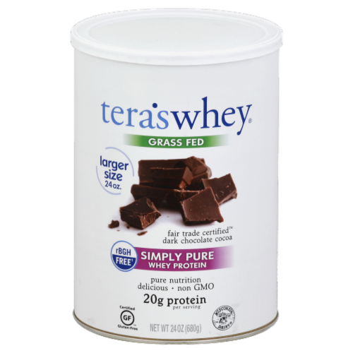 Tera's Whey Grass Fed Dark Chocolate Cocoa Perspective: front