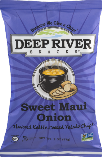 Deep River Snacks Sweet Maui Onion Kettle Cooked Potato Chips Perspective: front