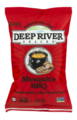 Deep River Snacks Mesquite BBQ Kettle Cooked Potato Chips Perspective: front