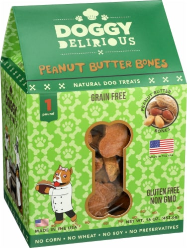 Doggy Delirious Peanut Butter Gluten Free Dog Treats Perspective: front