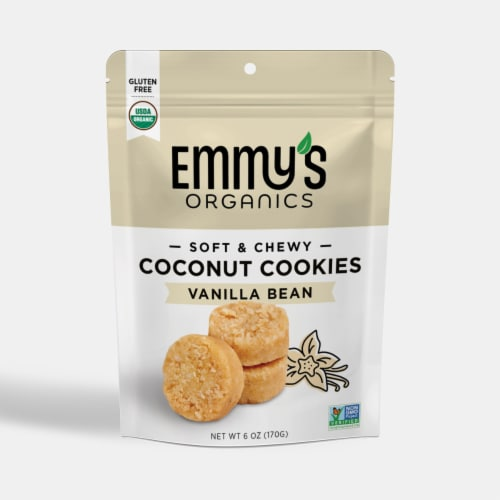 Emmy's Organics Coconut Vanilla Macaroons Perspective: front