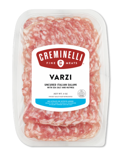 Creminelli Fine Meats Varzi With Sea Salt and Nutmeg Uncured Italian Salami Perspective: front