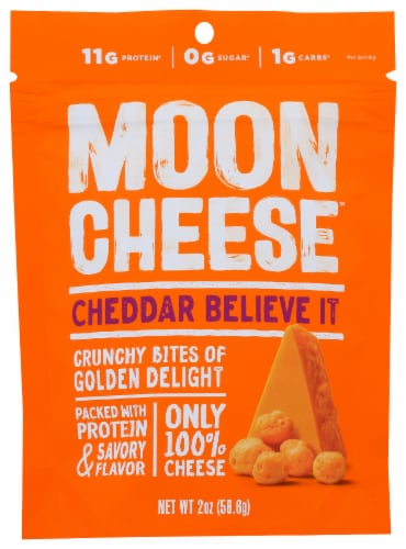 Moon Cheese Cheddar Believe It Crunchy Snacks Perspective: front