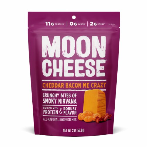 Moon Cheese Cheddar Bacon Me Crazy Bites Perspective: front