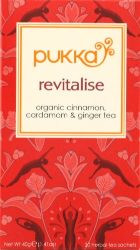 Pukka Revitalise Herbal Tea Sachets Perspective: front