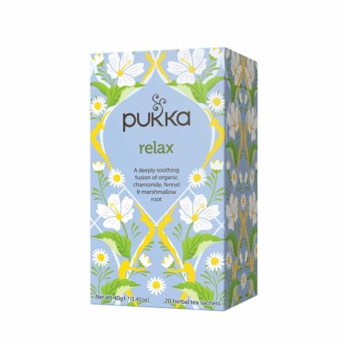 Pukka Relax Herbal Tea Sachets Perspective: front