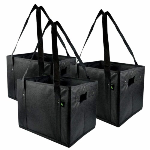 Reusable Grocery Box Bags, Collapsible Bins, Foldable Storage, Large Utility Totes Perspective: front