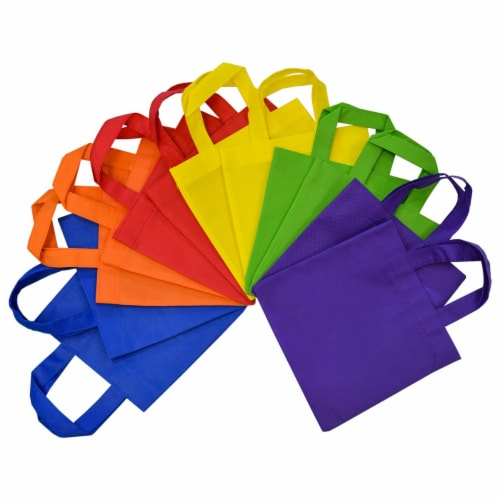 6x6 Inch Flat Reusable Gift Bags with Handles, Eco Friendly Totes, Fabric Goodie Bags Perspective: front